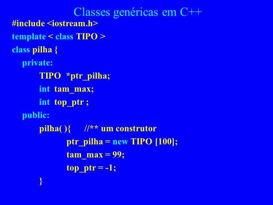 Classes parametrizadas em C++ Exemplo: suponha que o método construtor para a classe pilha fosse: pilha (int size ){ ptr_pilha = new int [size]; tam_m