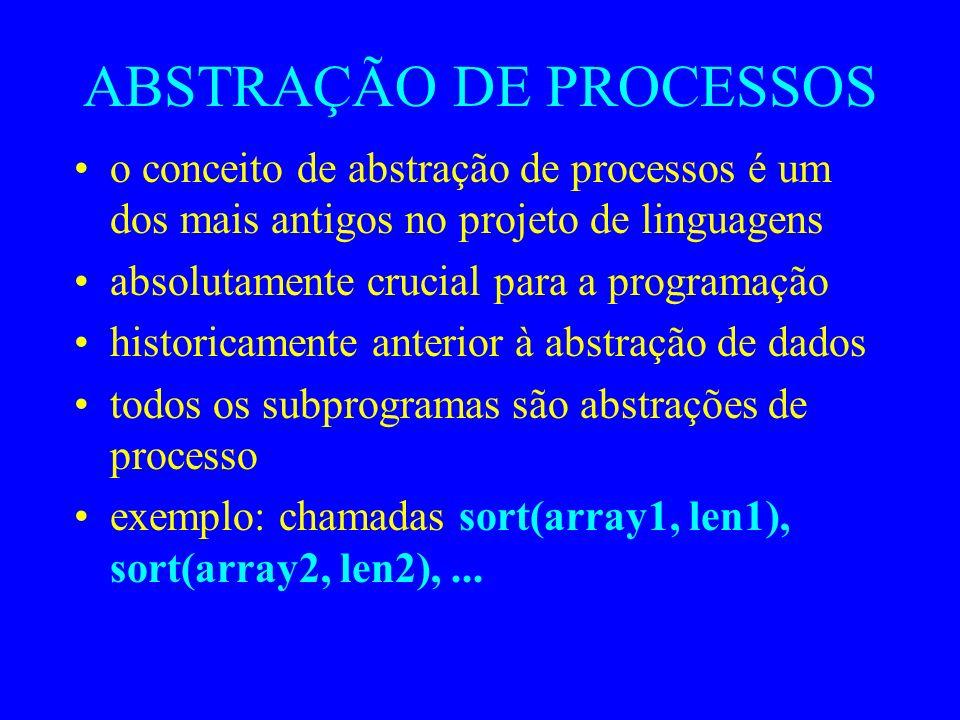 ABSTRAÇÃO DE PROCESSOS o conceito de abstração de processos é um dos mais antigos no projeto de linguagens absolutamente crucial para a programação historicamente anterior à abstração de dados todos os subprogramas são abstrações de processo exemplo: chamadas sort(array1, len1), sort(array2, len2),...