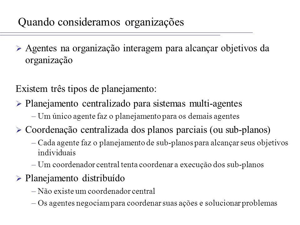 Quando consideramos organizações Agentes na organização interagem para alcançar objetivos da organização Existem três tipos de planejamento: Planejame