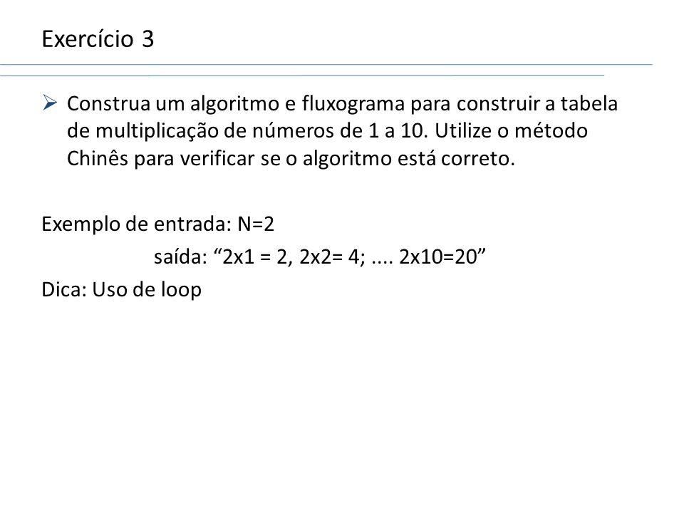 Exercício 3 Construa um algoritmo e fluxograma para construir a tabela de multiplicação de números de 1 a 10. Utilize o método Chinês para verificar s