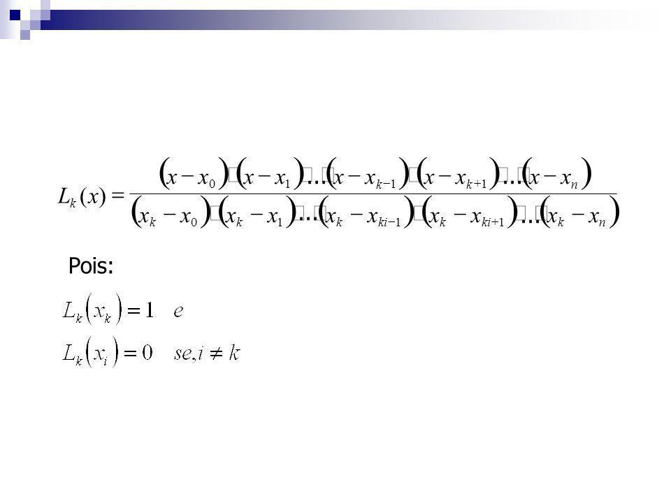 Interpolação Linear Interpolação para 2 pontos (n+1=2) - ajuste de retas (n=1) (Interpolação Linear) xixi x0x0 x1x1 f(xi)f(xi)f(x0)f(x0)f(x1)f(x1)