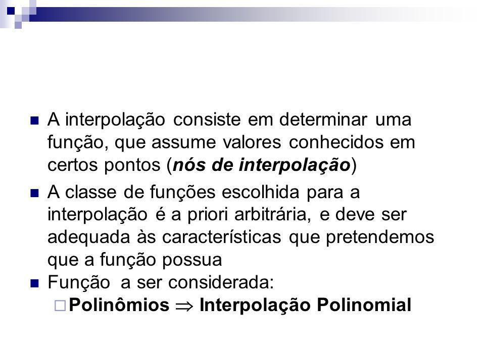 Métodos de interpolação polinomial são utilizados para aproximar uma função f(x), principalmente nas seguintes situações: conhece-se apenas valores de f(x) em apenas pontos discretos x 0, x 1, x 2,...