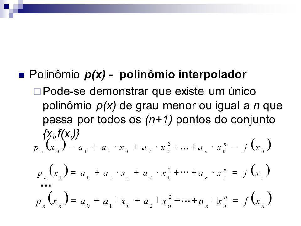 O conjunto de equações corresponde a um sistema linear de n+1 equações e n+1 variáveis Quais são as variáveis independentes.