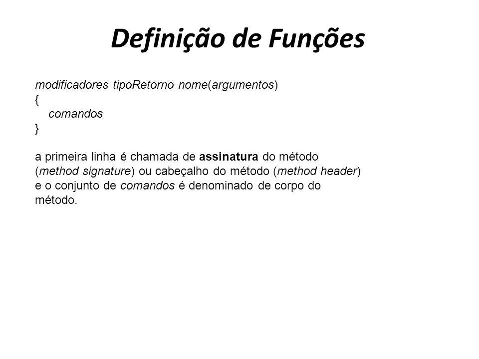 Definição de Funções modificadores tipoRetorno nome(argumentos) { comandos } a primeira linha é chamada de assinatura do método (method signature) ou