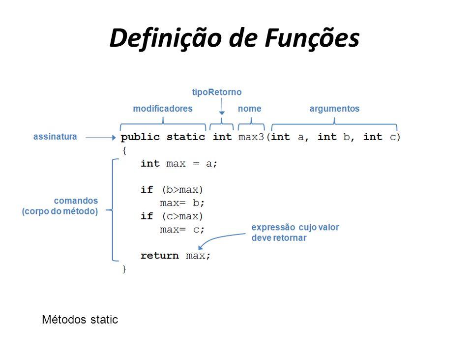 Definição de Funções Métodos static