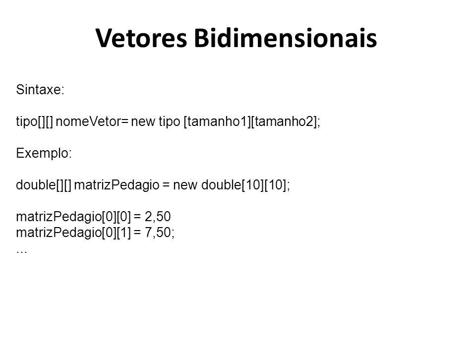 Vetores Bidimensionais Sintaxe: tipo[][] nomeVetor= new tipo [tamanho1][tamanho2]; Exemplo: double[][] matrizPedagio = new double[10][10]; matrizPedag