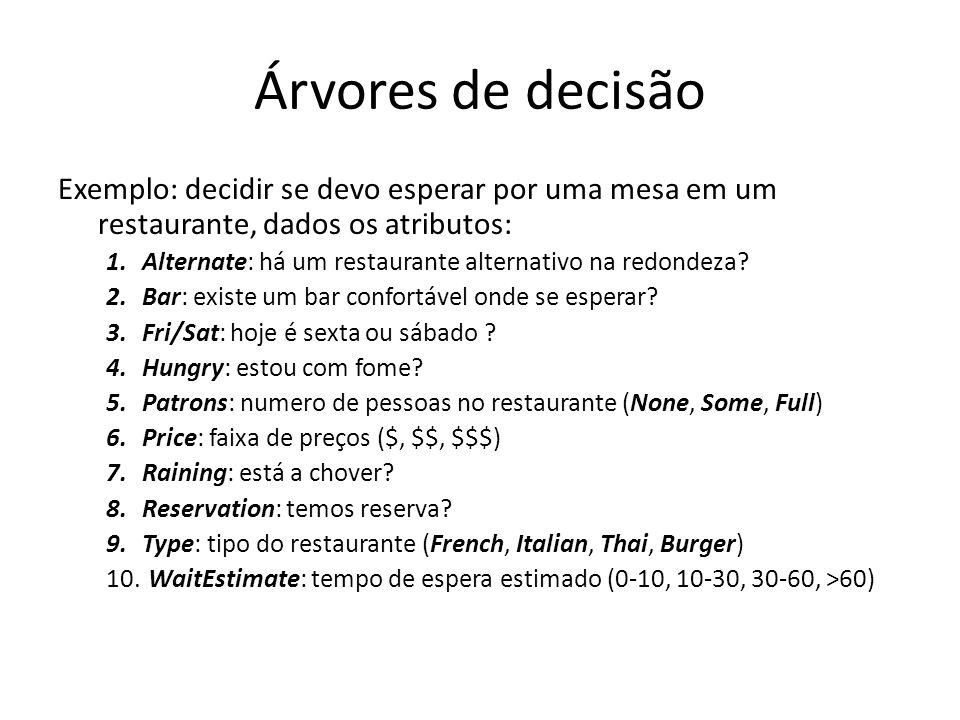 Árvores de decisão Exemplo: decidir se devo esperar por uma mesa em um restaurante, dados os atributos: 1.Alternate: há um restaurante alternativo na redondeza.