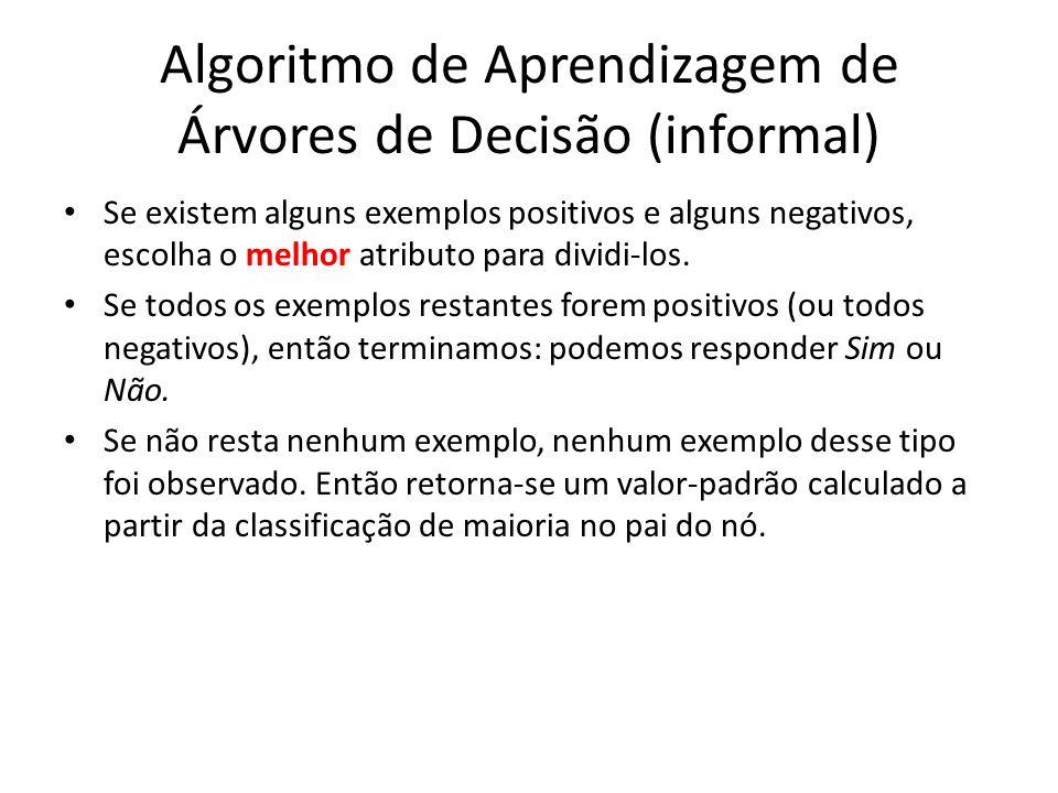 Algoritmo de Aprendizagem de Árvores de Decisão (informal) Se existem alguns exemplos positivos e alguns negativos, escolha o melhor atributo para dividi-los.