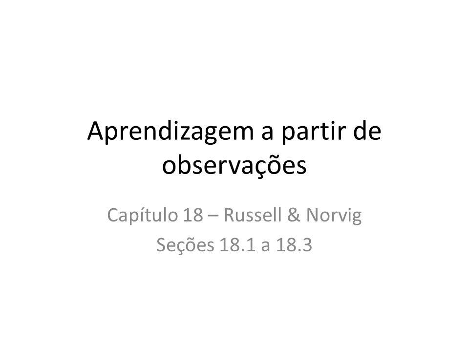 Aprendizagem a partir de observações Capítulo 18 – Russell & Norvig Seções 18.1 a 18.3