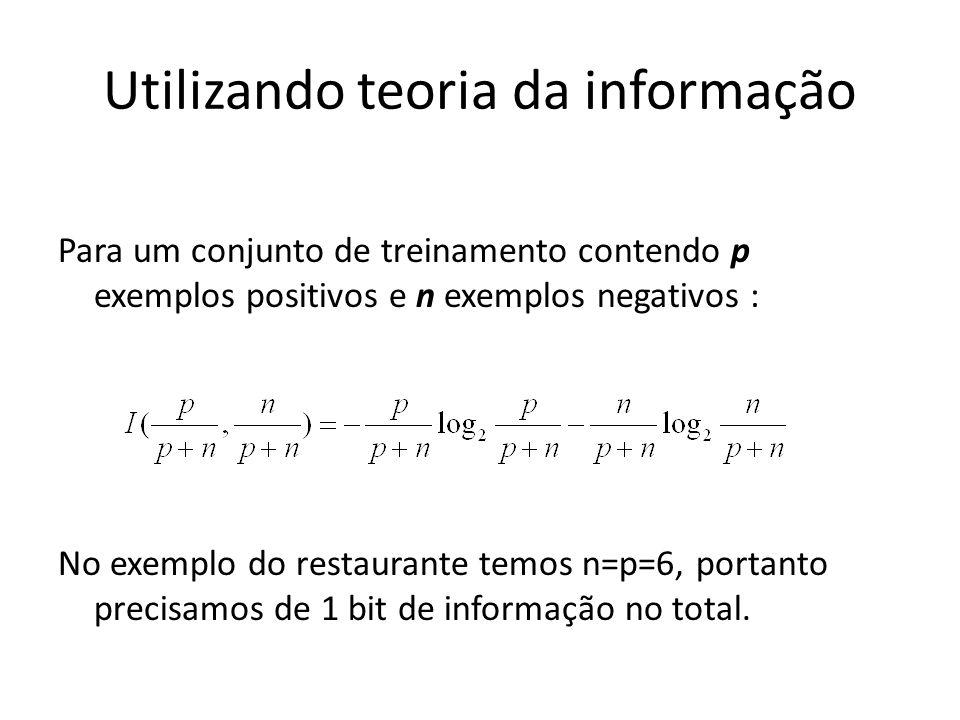 Utilizando teoria da informação Para um conjunto de treinamento contendo p exemplos positivos e n exemplos negativos : No exemplo do restaurante temos n=p=6, portanto precisamos de 1 bit de informação no total.