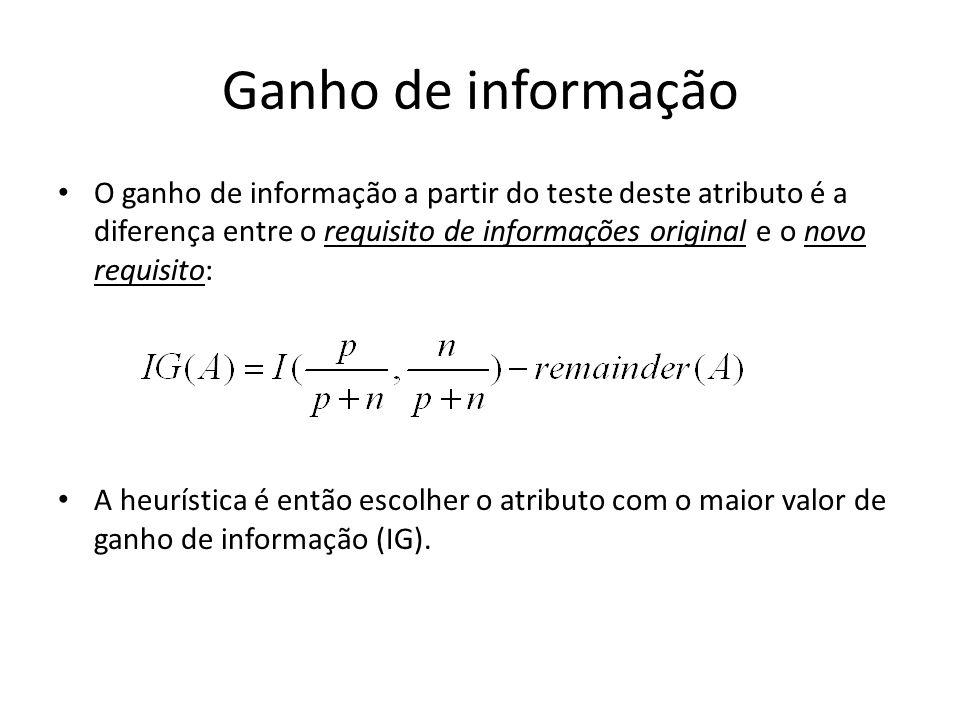 Ganho de informação O ganho de informação a partir do teste deste atributo é a diferença entre o requisito de informações original e o novo requisito: