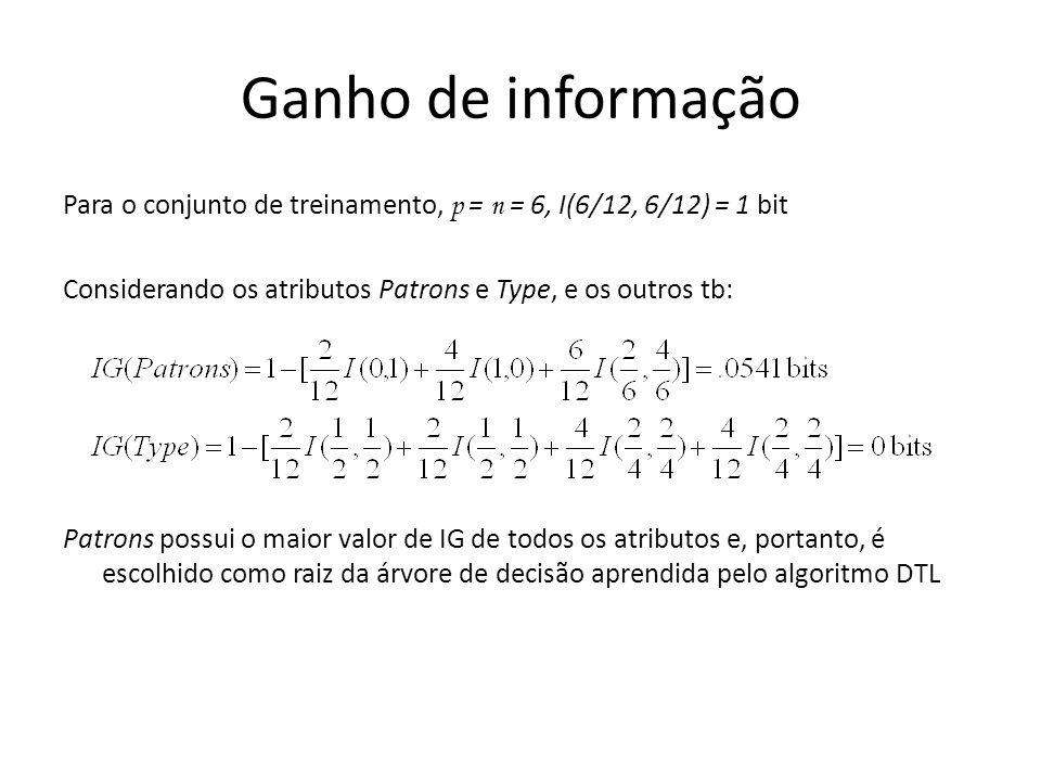 Ganho de informação Para o conjunto de treinamento, p = n = 6, I(6/12, 6/12) = 1 bit Considerando os atributos Patrons e Type, e os outros tb: Patrons possui o maior valor de IG de todos os atributos e, portanto, é escolhido como raiz da árvore de decisão aprendida pelo algoritmo DTL