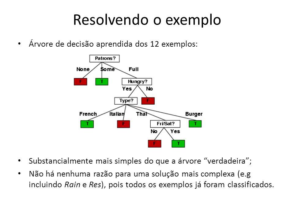 Resolvendo o exemplo Árvore de decisão aprendida dos 12 exemplos: Substancialmente mais simples do que a árvore verdadeira; Não há nenhuma razão para uma solução mais complexa (e.g incluindo Rain e Res), pois todos os exemplos já foram classificados.