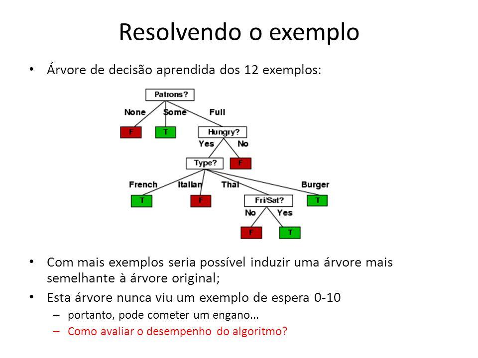 Resolvendo o exemplo Árvore de decisão aprendida dos 12 exemplos: Com mais exemplos seria possível induzir uma árvore mais semelhante à árvore original; Esta árvore nunca viu um exemplo de espera 0-10 – portanto, pode cometer um engano...
