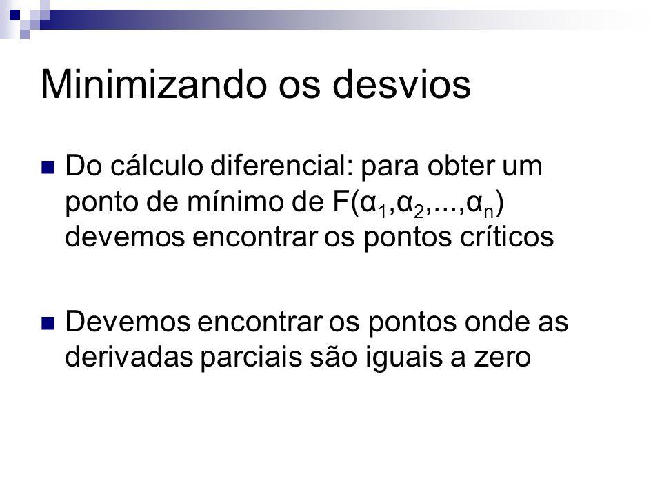 Minimizando os desvios Do cálculo diferencial: para obter um ponto de mínimo de F(α 1,α 2,...,α n ) devemos encontrar os pontos críticos Devemos encon