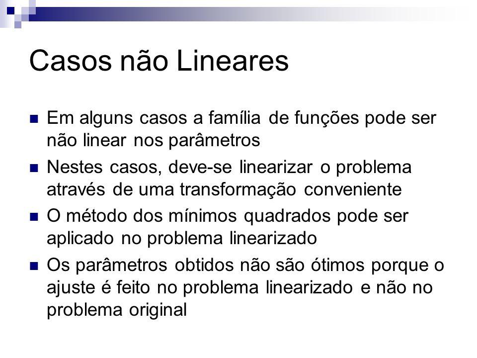 Casos não Lineares Em alguns casos a família de funções pode ser não linear nos parâmetros Nestes casos, deve-se linearizar o problema através de uma