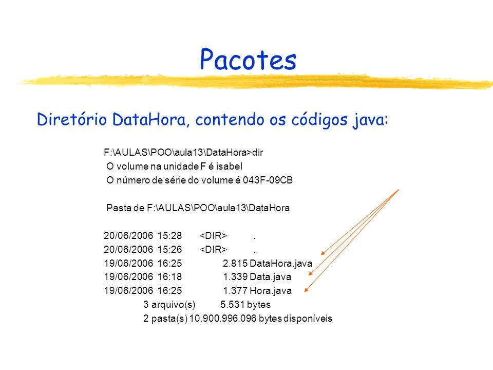 Pacotes Diretório DataHora, contendo os códigos java: F:\AULAS\POO\aula13\DataHora>dir O volume na unidade F é isabel O número de série do volume é 04