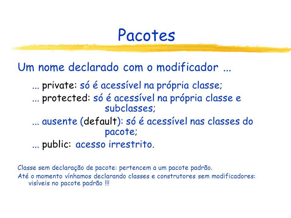 Pacotes Um nome declarado com o modificador...... private: só é acessível na própria classe;... protected: só é acessível na própria classe e subclass