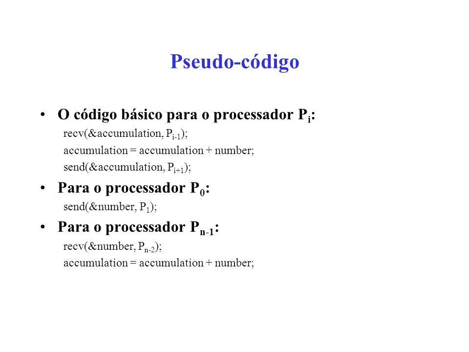 Pseudo-código O código básico para o processador P i : recv(&accumulation, P i-1 ); accumulation = accumulation + number; send(&accumulation, P i+1 );