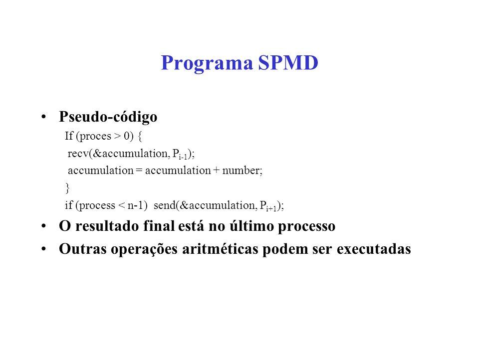 Programa SPMD Pseudo-código If (proces > 0) { recv(&accumulation, P i-1 ); accumulation = accumulation + number; } if (process < n-1) send(&accumulati