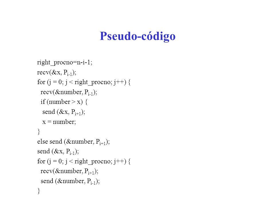 Pseudo-código right_procno=n-i-1; recv(&x, P i-1 ); for (j = 0; j < right_procno; j++) { recv(&number, P i-1 ); if (number > x) { send (&x, P i+1 ); x