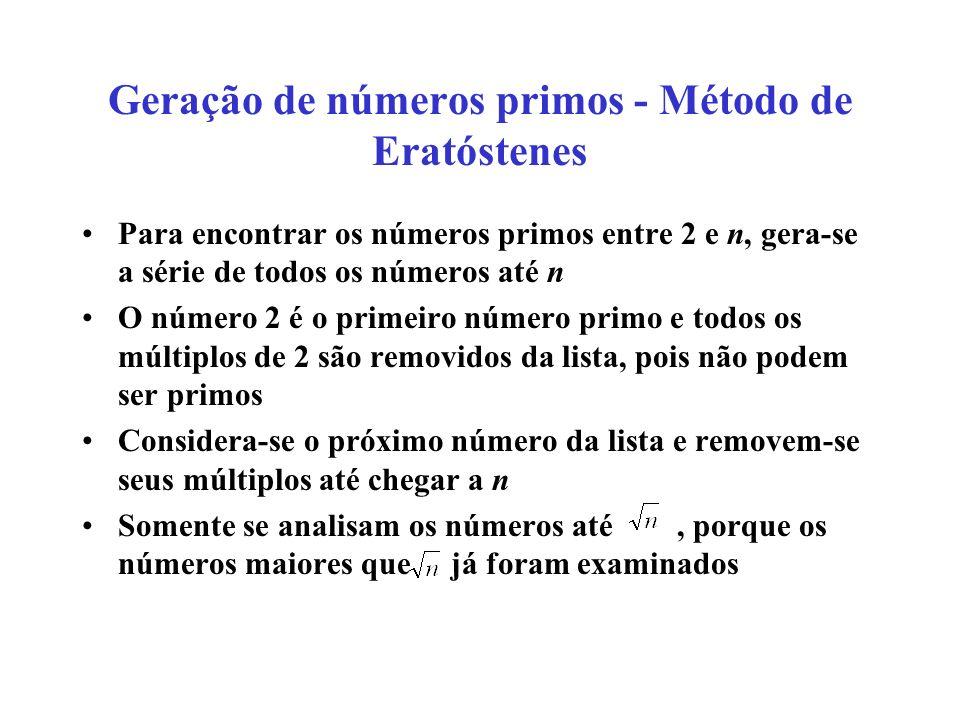 Geração de números primos - Método de Eratóstenes Para encontrar os números primos entre 2 e n, gera-se a série de todos os números até n O número 2 é