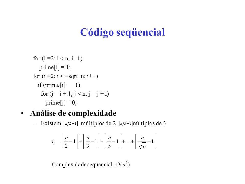 Código seqüencial for (i =2; i < n; i++) prime[i] = 1; for (i =2; i < =sqrt_n; i++) if (prime[i] == 1) for (j = i + 1; j < n; j = j + i) prime[j] = 0;
