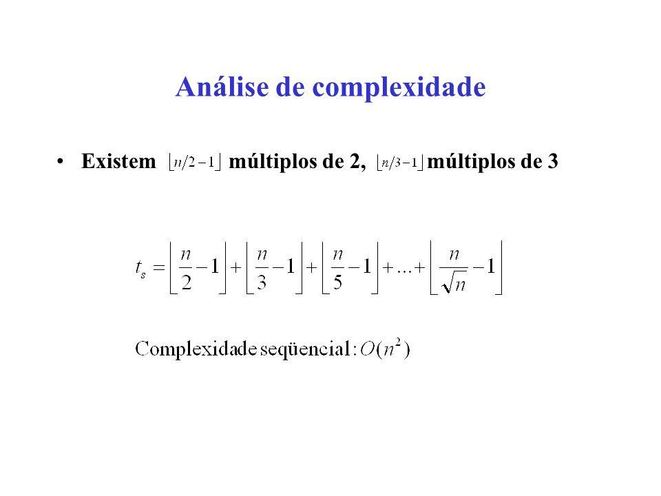 Análise de complexidade Existem múltiplos de 2, múltiplos de 3