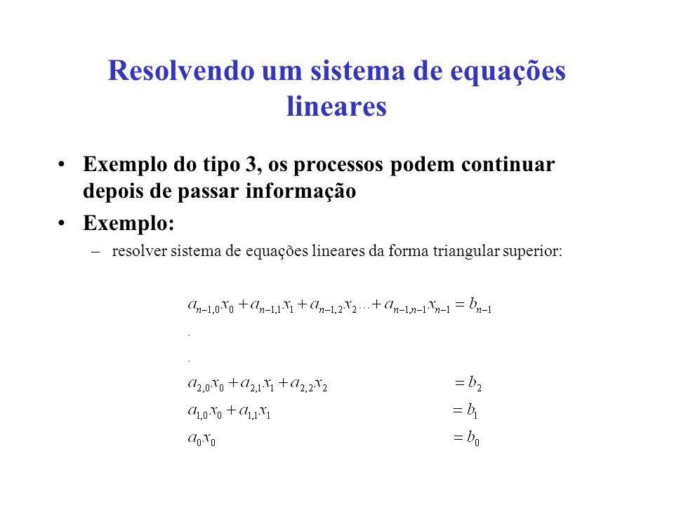 Resolvendo um sistema de equações lineares Exemplo do tipo 3, os processos podem continuar depois de passar informação Exemplo: –resolver sistema de e