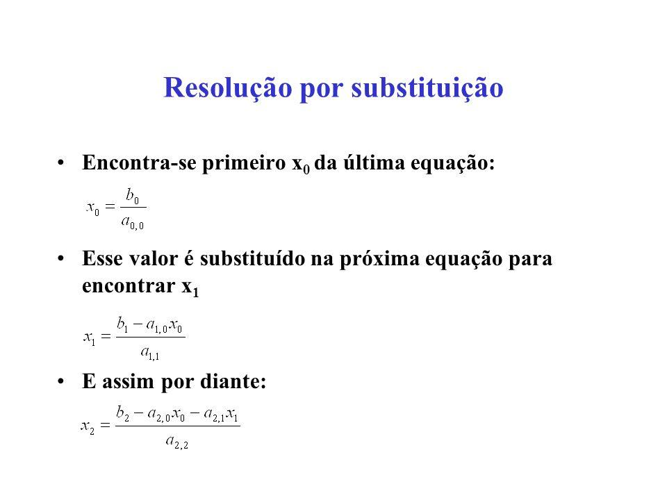 Resolução por substituição Encontra-se primeiro x 0 da última equação: Esse valor é substituído na próxima equação para encontrar x 1 E assim por dian