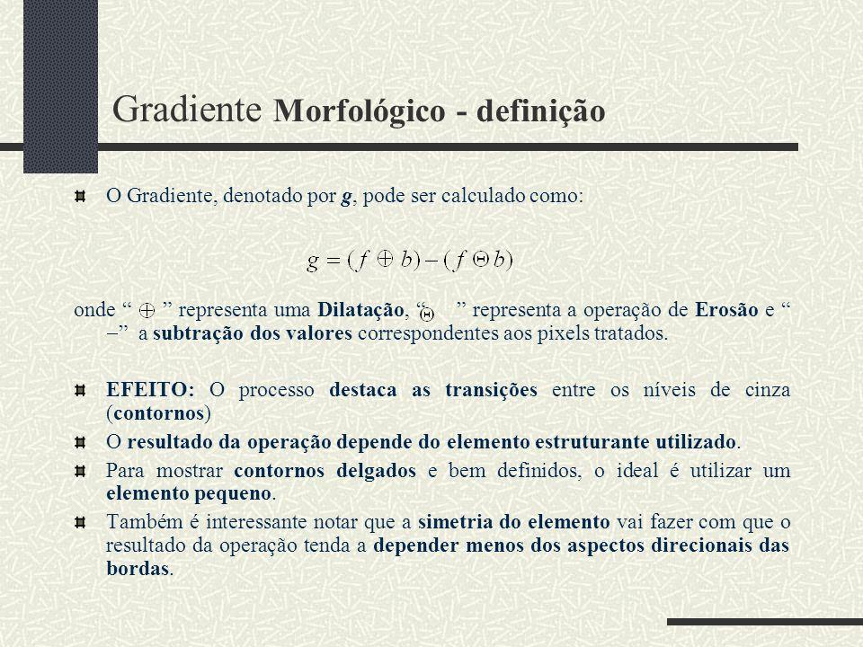 Gradiente Morfológico - definição O Gradiente, denotado por g, pode ser calculado como: onde representa uma Dilatação, representa a operação de Erosão