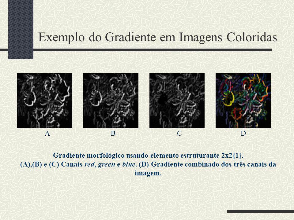 Exemplo do Gradiente em Imagens Coloridas ABCD Gradiente morfológico usando elemento estruturante 2x2{1}. (A),(B) e (C) Canais red, green e blue. (D)