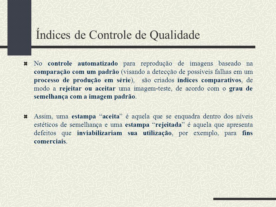 Índices de Controle de Qualidade No controle automatizado para reprodução de imagens baseado na comparação com um padrão (visando a detecção de possív