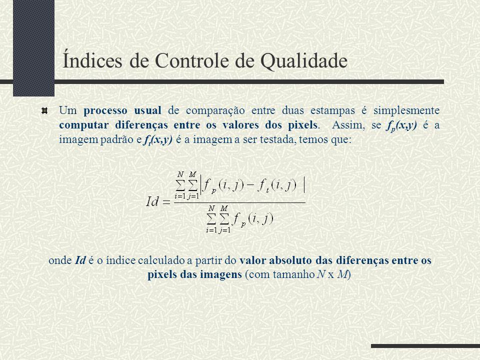 Índices de Controle de Qualidade Um processo usual de comparação entre duas estampas é simplesmente computar diferenças entre os valores dos pixels. A