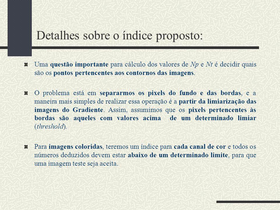 Detalhes sobre o índice proposto: Uma questão importante para cálculo dos valores de Np e Nt é decidir quais são os pontos pertencentes aos contornos