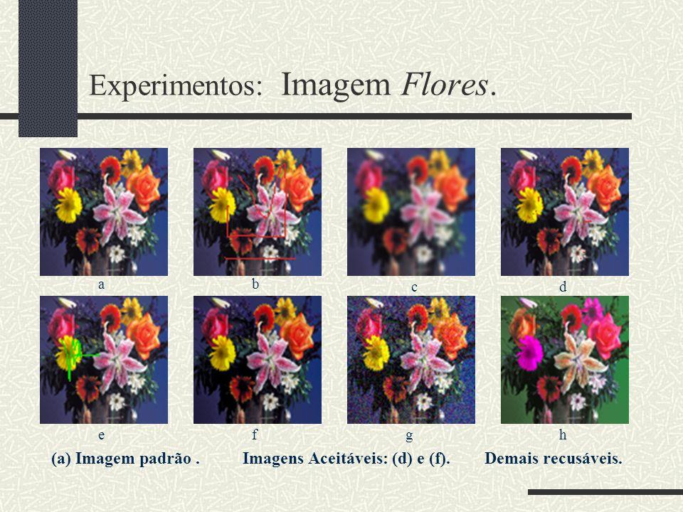 Experimentos: Imagem Flores. (a) Imagem padrão. Imagens Aceitáveis: (d) e (f). Demais recusáveis. ab cd efgh