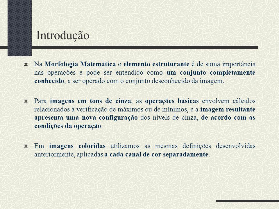 Introdução Na Morfologia Matemática o elemento estruturante é de suma importância nas operações e pode ser entendido como um conjunto completamente co