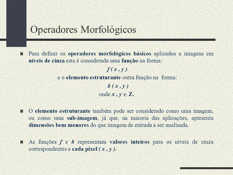Operadores Morfológicos Para definir os operadores morfológicos básicos aplicados a imagens em níveis de cinza esta é considerada uma função na forma: