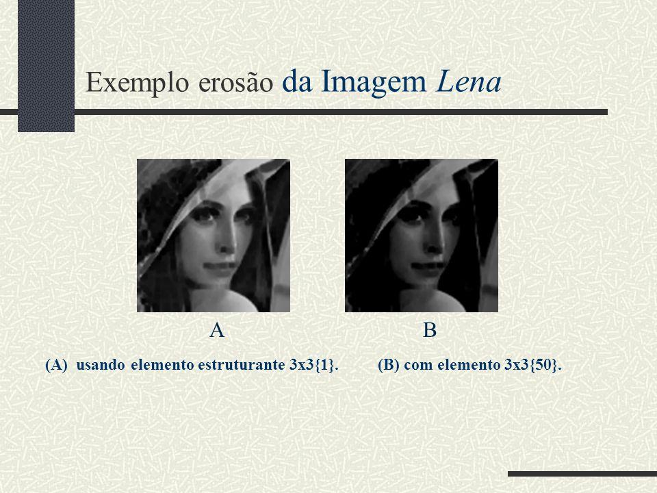 Exemplo erosão da Imagem Lena AB (A) usando elemento estruturante 3x3{1}. (B) com elemento 3x3{50}.
