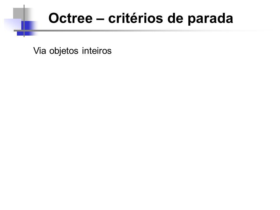 Octree – critérios de parada Via objetos inteiros