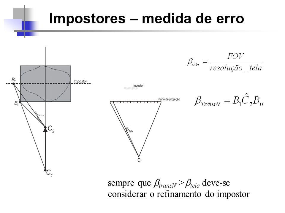 Impostores – medida de erro sempre que transN > tela deve-se considerar o refinamento do impostor