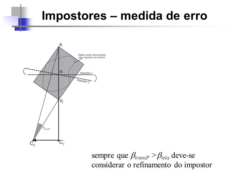 Impostores – medida de erro sempre que transP > tela deve-se considerar o refinamento do impostor