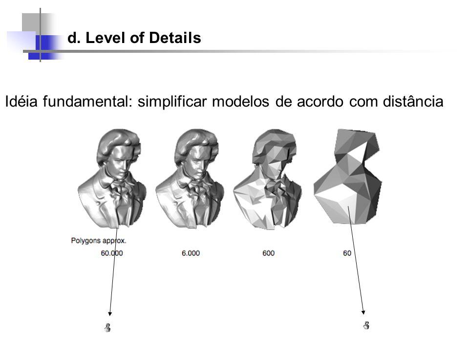 d. Level of Details Idéia fundamental: simplificar modelos de acordo com distância