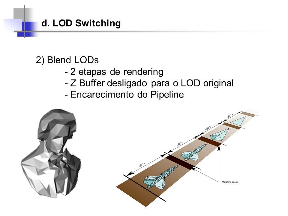 d. LOD Switching 2) Blend LODs - 2 etapas de rendering - Z Buffer desligado para o LOD original - Encarecimento do Pipeline
