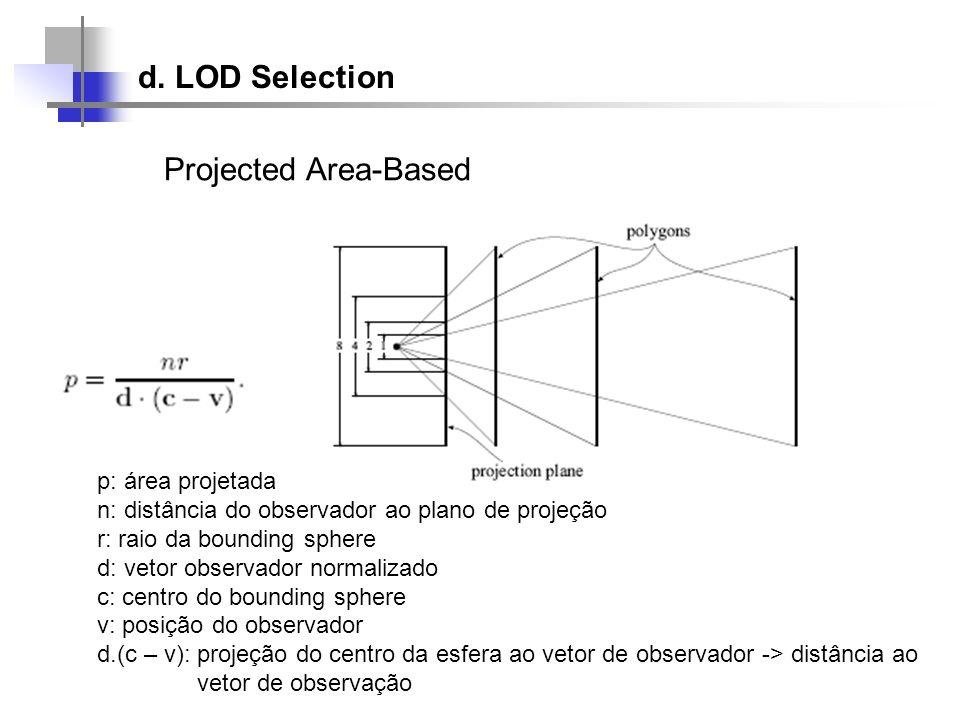d. LOD Selection Projected Area-Based p: área projetada n: distância do observador ao plano de projeção r: raio da bounding sphere d: vetor observador