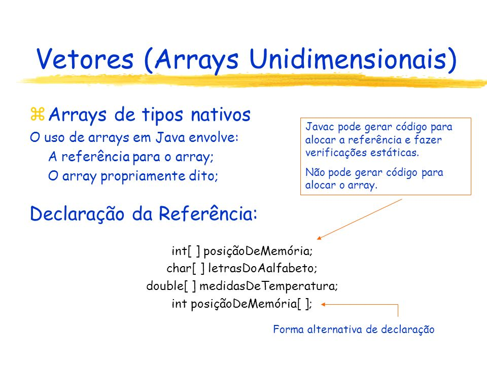 Vetores (Arrays Unidimensionais) Definição do array: int[ ] posiçãoDeMemória = new int[1024]; Declaração da referênciaDefinição do array Inicialização do array: explícita ou implícita (tipos nativos são inicializados com o valor padrão do tipo) posiçãoDeMemória....
