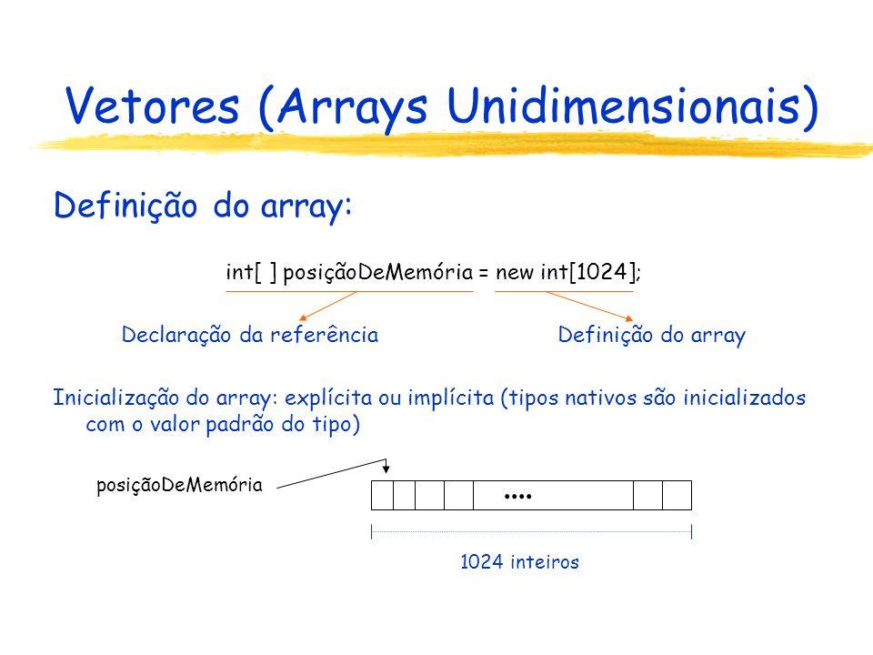 Vetores (Arrays Unidimensionais) Definição do array: int[ ] posiçãoDeMemória = new int[1024]; int quantidadeNecessária = 32768; byte[ ] vetorNumérico = new byte[quantidadeNecessária]; char[ ] letrasDoAlfabeto = {a,b,c,d,e,f,g,h,i,j,l,m,n,o,p,q,r,s,t,u,v,x,z}; double[ ] medidasDeTemperatura; medidasDeTemperatura = new double[24*60*60]; double[ ] duplicata = medidasDeTemperatura; Definição e inicialização Cópia ou compartilhamento??