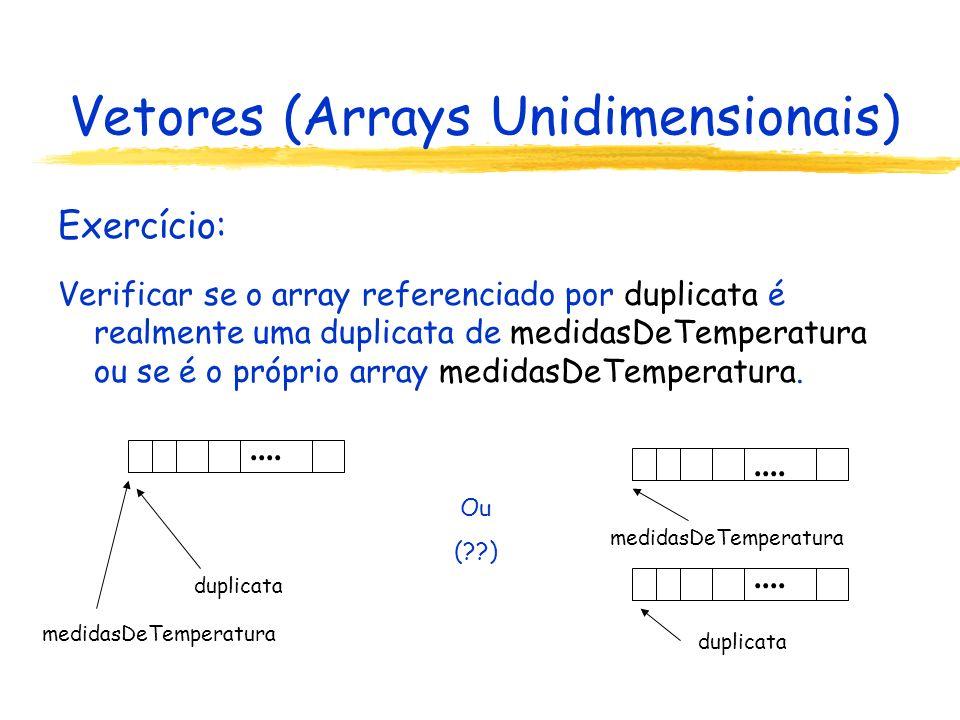 Vetores (Arrays Unidimensionais) Definição do array de (referências à) instâncias: Funcionario[ ] equipe = new Funcionario[4]; Declaração da referência para o arrayDefinição do array Inicialização do array: implícita (referências à instâncias de classes são inicializadas com o valor null)