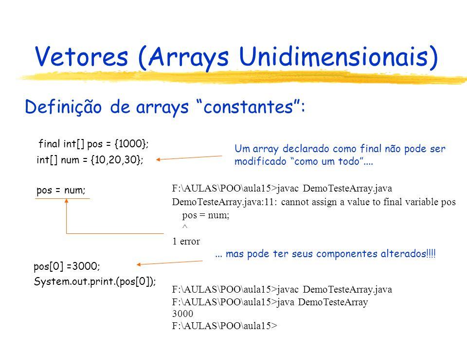 Vetores (Arrays Unidimensionais) Acesso à componentes de arrays: Índices iniciam em 0 e variam até o tamanho do array menos um.