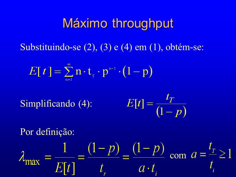 Máximo throughput Substituindo-se (2), (3) e (4) em (1), obtém-se: Simplificando (4): Por definição: com